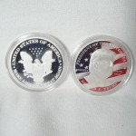 Trump Painted American Flag Silver Plated Coin $2.75 per coin