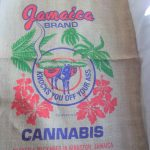 Jamaica Brand Cannabis Knocks You Off Your Ass Burlap Bag $8.75